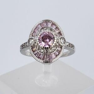 Sterling Pink Baguette Ring